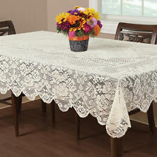 """New Square Ivory Lace Floral Buckingham with Scallop Edges Tablecloth 70"""" Round"""