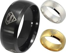 8mm Ring 316L Stainless Steel Superman Superhero Band Ring NEW