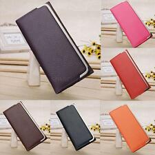 Fashion Women Clutch Purse PU Leather Fold-Over Front Coin Card Case Long Wallet