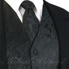 BLACK XS to 6XL 20-B Paisley Tuxedo Dress Vest Waistcoat & Neck tie Wedding Prom