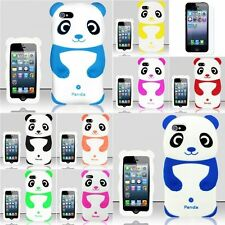 For iPhone 5 5G 3D Panda Bear Gel Rubber Case Cover Silicone Skin+Screen Film