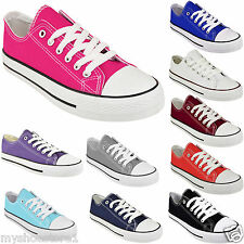 LADIES WOMENS GIRLS CANVAS LACE UP PLIMSOLLS PUMPS SNEAKER TRAINER SKATER SHOES