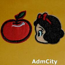 Snow White Face + Apple Iron On Sew Patch Beauty Embroidery Applique Badge Fairy