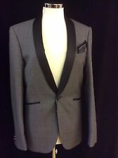 "GREY SLIM FIT DINNER  JACKET GREY WITH BLACK SILK LAPEL CHEST 36""-38""-42"""