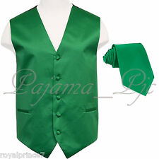 Emerald Green Solid Tuxedo Suit Vest Waistcoat and Neck tie Prom Wedding 10JJ