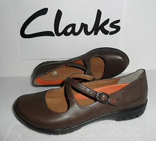 Clarks Ladies Un Lady Brown Leather Mary Shoes Size UK 4 ,5.5,6,6.5