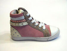 BQZ Girls Pink Suede High Top With Laces and Zip