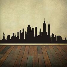"New York City Skyline Wall Decal Buildings Silhouette Vinyl Room Decor 96""x36"""