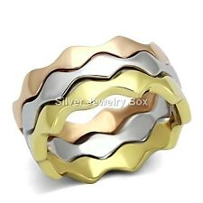 Stackable Puzzle Tri Tone White, Yellow, Rose Finished Stainless Steel Rings