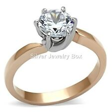 Rose Gold Stainless Steel Round Cubic Zirconia CZ Solitaire Engagement Ring