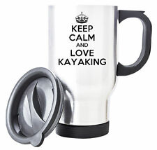 White KEEP CALM and Love Kayaking Travel Mug - Coffee Cup Gift Idea sport