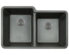 MR Direct 801 Black TruGranite Double Offset Bowl Kitchen Sink