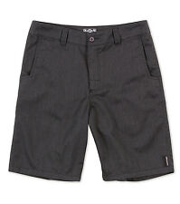 MENS METAL MULISHA -STRAIGHT AWAY- HEATHER BLACK CHINO TWILL SHORTS