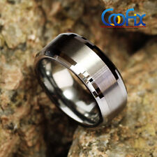 8mm Men's Tungsten Carbide Wedding Band Ring Bridal Jewelry Titanium Color USA