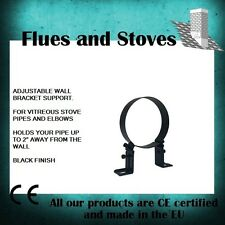 "Stove Flue Pipe wall brackets adjustable 5 inch, 6"", Vitreous Black"
