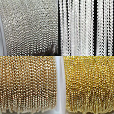 2/5M Silver/Gold Tone Metal Ball Round Chain For Necklace Jewelry Findings 1MM
