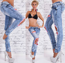 Sexy Women's Low Cut Jeans Destroyed Used Look Skinny Jeans Pants Size 6-14