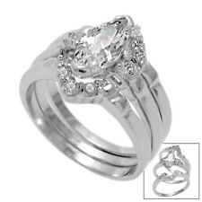 925 Sterling Silver 1.40 Carat Marquise CZ Engagement 3-Ring Set Wedding Band