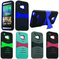 For HTC One M9 Heavy Duty ARMOR EXO Hybrid Kickstand Rubber Soft Hard Case Cover