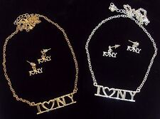 """""""I Heart New York"""" Necklace & Earring Set ~ Gold or Silver Tone Fashion Jewelry"""