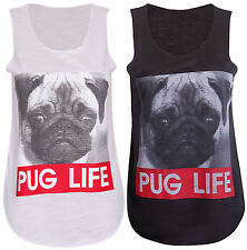 Womens Pug Life Vest Top Dog T Shirt Thug Wanted Sleeveless Grump Puppy Slogan