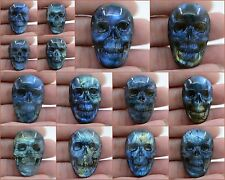 """37mm Carved labradorite skull cab cabochon 1.5"""" *each one pictured*"""