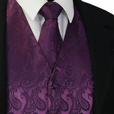 Deep Dark Purple Paisley Tuxedo Dress Vest Waistcoat & Neck tie Wedding 20-FF