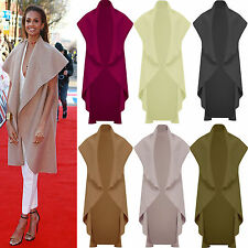 Ladies New Sleeveless Waterfall drape coat cardigan cape alesha celeb camel