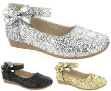 CHILDRENS FLAT PARTY WEDDING FANCY DANCE DIAMANTE KIDS GIRLS DRESS SHOES SZ 10-2