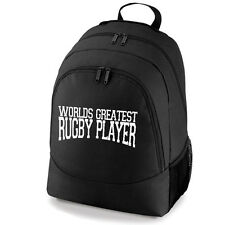 Worlds Greatest Rugby Player Rucksack Backpack Bag skull hat gum shield boots