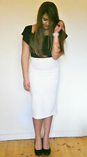 Ladies Stretch Bodycon Pencil Wiggle Skirt Cream size 12 and 14