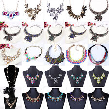 Fashion Charm Crystal Choker Chunky Statement Bib Chain Necklace Jewelry Pendant