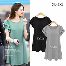 Women Casual Sexy Plus Size Fat MM Slim Short sleeve Loose Wild Bottoming Dress