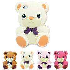 White 3D Teddy Bear Cute Animal Cartoon Silicon Soft Cover Case for Iphone 5 5S