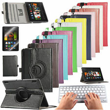 """For 2013 Amazon Kindle Fire HDX 7"""" Folio Leather Case Cover+Bluetooth Keyboard"""