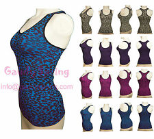 LEOPARD Cheetah ANIMAL Stretch Shirts Print Racer Back Tank Tops Tees Workout