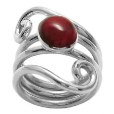 925 Sterling Silver Dual Swirl Red Jasper Women's Ring Size 6-9