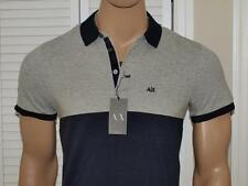 Armani Exchange Colorblock Pique Stretch Polo Shirt Heather Gray NWT