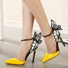 Womens Pointed Toe High Heel Ankle Strap Butterfly Mary Janes Pumps Court Shoes