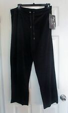NWT ONQUE BLACK VELOUR TRACK PANTS Sweat Pants size 2X 3X Lounge pant SOFT Feel