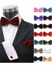 Fashion Men Party Knitted Adjustable Bowknot Neckwear BowTie Bow Tie Solid Color