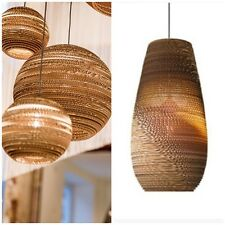 Designer's Style Scraplight Replica Handcrafted Recycled Cardboard Pendant Light