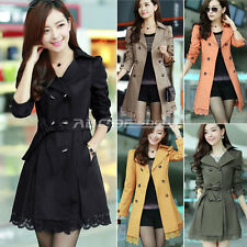 Elegant Ladies Double Breasted Belted Lace Long Jacket Trench Coat Outerwear