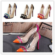 Red Bottom Pump Stiletto High Heels Transparent Crystal Rivets Shoes 816-6