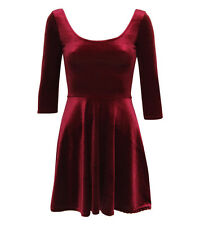 WINE WOMEN LADIES VELVET BODYCON SCOOP BACK SKATER DRESS TOP SIZE 6,8,10,12,14