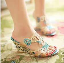 New Hot Womens Bohemia Wedge Heel Hollow Out Roma Sandals Glitter Mule Plus Size