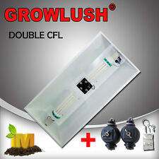 Large double lamped hydroponics CFL Light with fan cooling and adjustable hanger