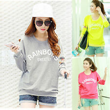 New Womens Floral Printed Lace Cotton Loose Hoodies Sweatshirt Blouse Shirt Tops
