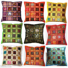 """Cushion Covers 16x16"""" 40cm Indian Heavy Embroidery Sari Patchwork Square Stripes"""