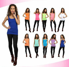 Womens New Plain Sleeveless Ladies Stretch Long Strappy Cami Vest Tank Top S M L
